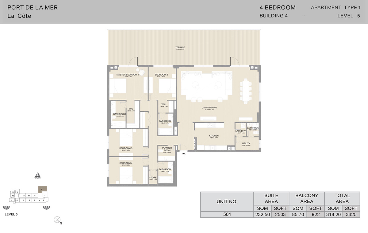 4 Bedroom Building 4, Type 1, Level 5, Size 3425 sq.ft.