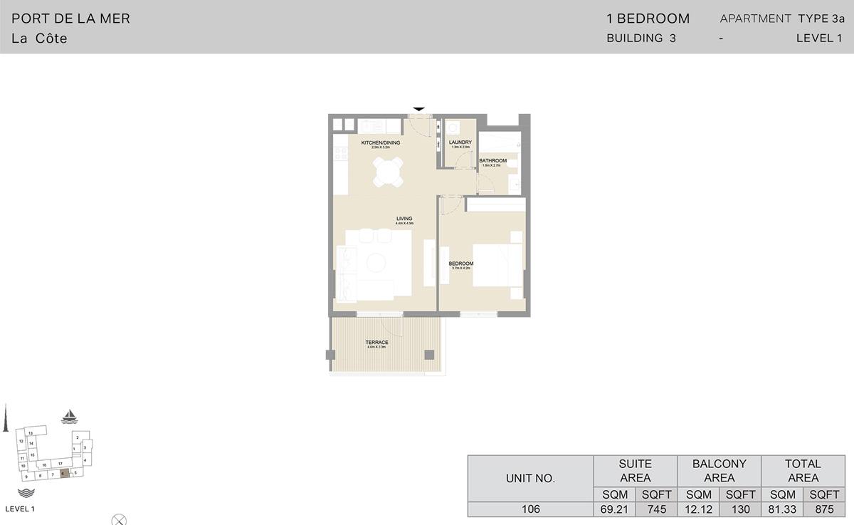1 Bedroom Building 3 - Level 1, Size 875-sqft