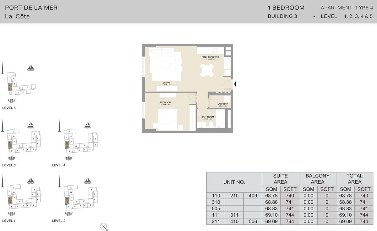1 Bedroom Building 3 Level 1 To 5, Size 744-sqft