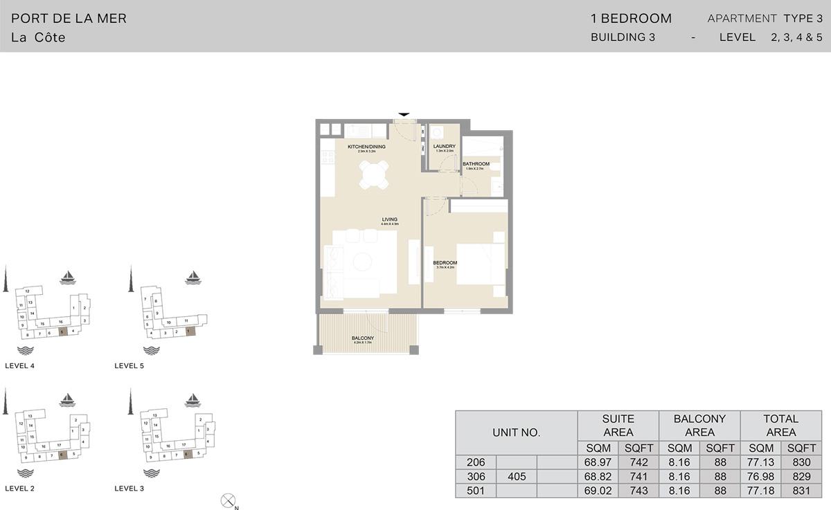 1 Bedroom Building 3 Level 2 To 5, Size 831-sqft