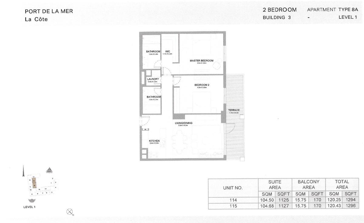2 Bedroom Building 3 Level 1, Size 1296-sqft