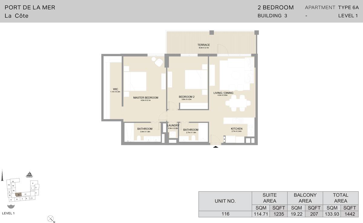 2 Bedroom Building 3 Level 1, Size 1442-sqft