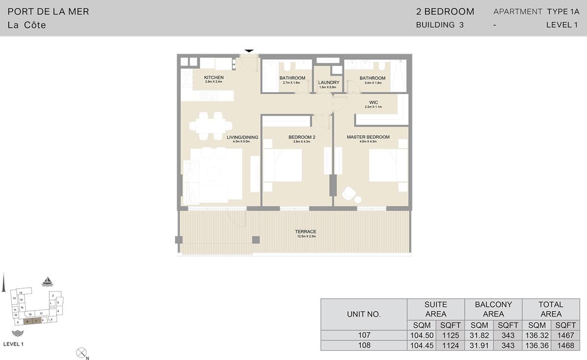 2 Bedroom Building 3 Level 1, Size 1468-sqft