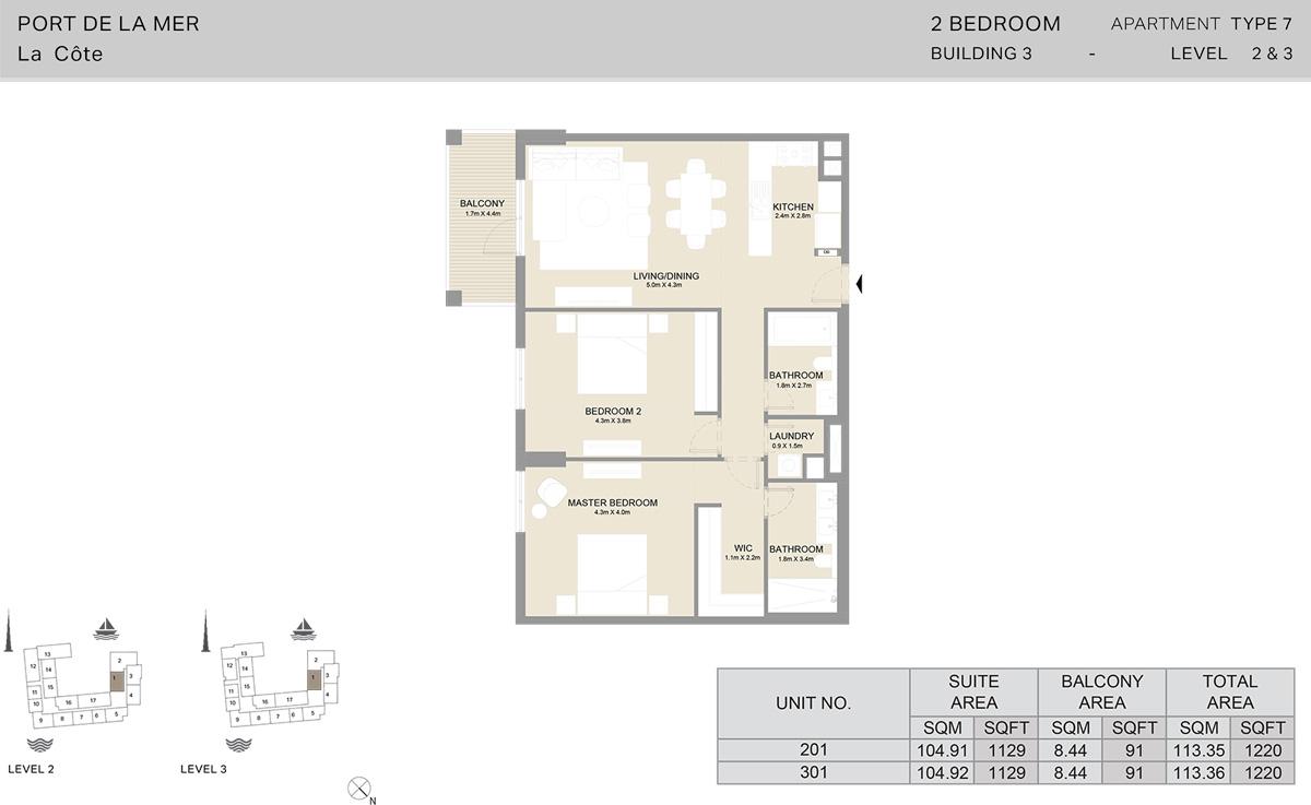 2 Bedroom Building 3 Level 2 To 3, Size 1220-sqft