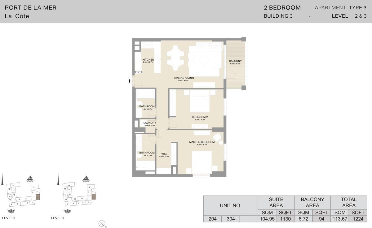 2 Bedroom Building 3 Level 2 To 3, Size 1224-sqft