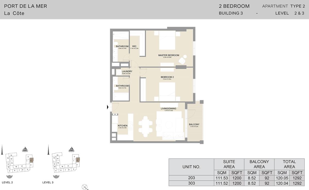 2 Bedroom Building 3 Level 2 To 3, Size 1292-sqft