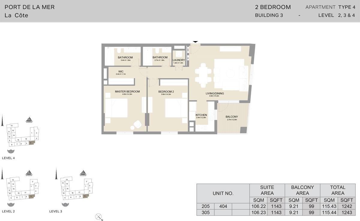 2 Bedroom Building 3 Level 2 To 4, Size 1243-sqft