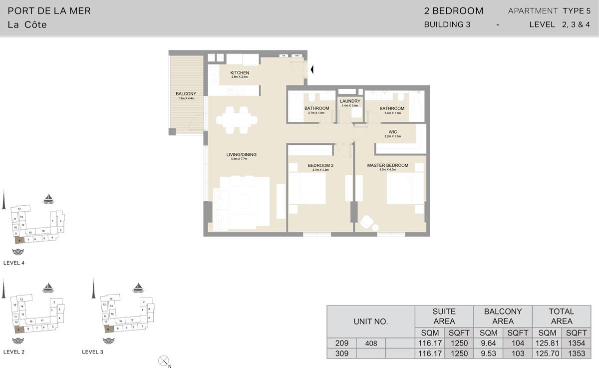 2 Bedroom Building 3 Level 2 To 4, Size 1353-sqft