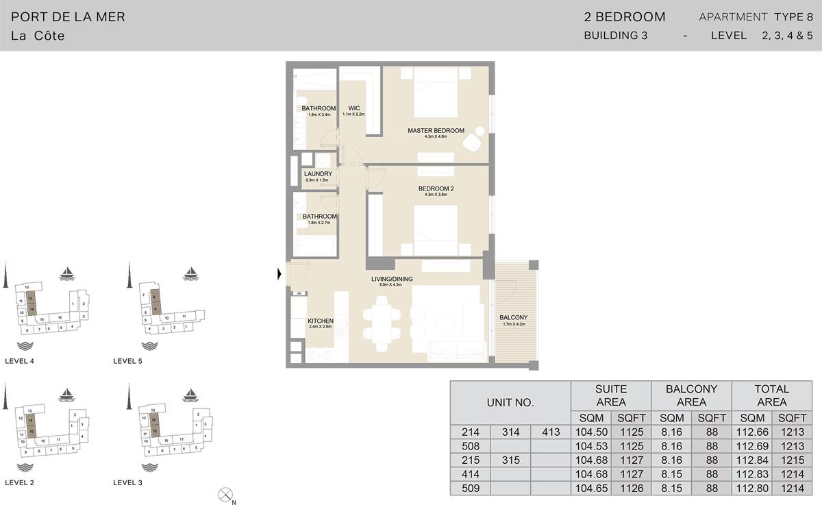 2 Bedroom Building 3 Level 2 To 5, Size 1214-sqft