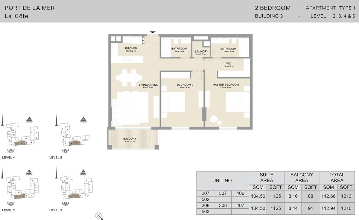 2 Bedroom Building 3 Level 2 To 5, Size 1216 -sqft