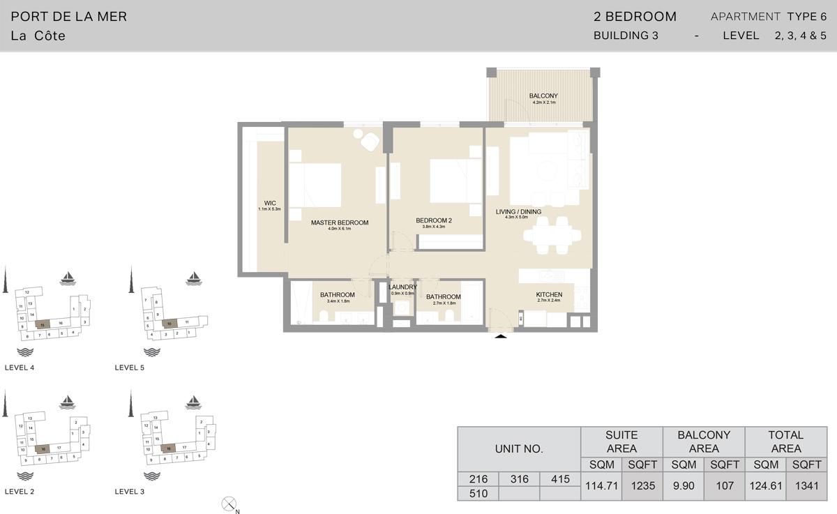 2 Bedroom Building 3 Level 2 To 5, Size 1341-sqft