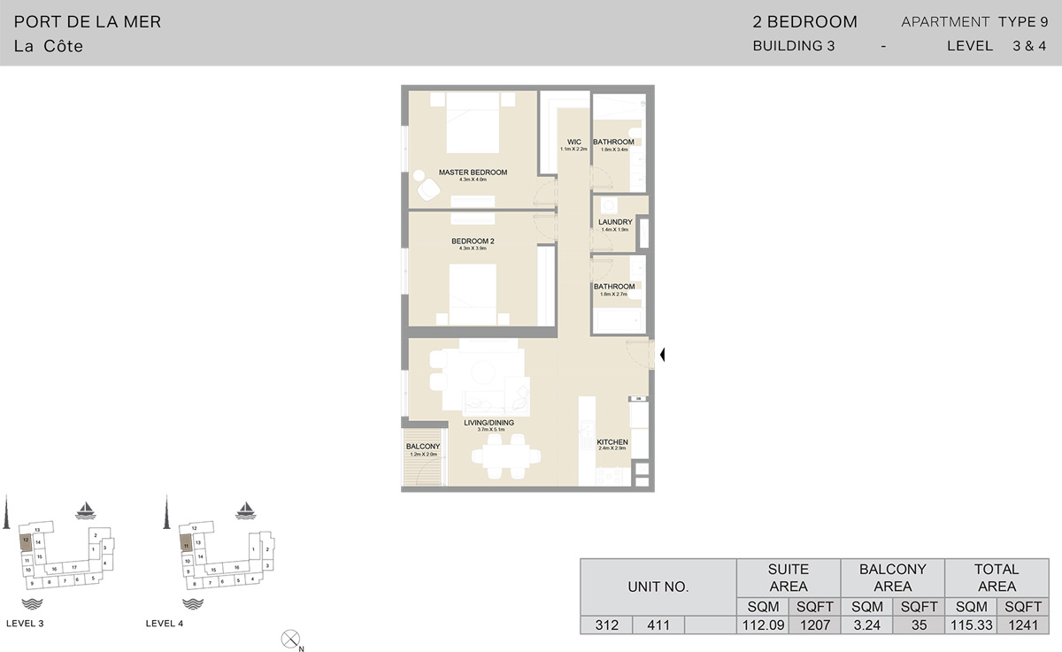 2 Bedroom Building 3 Level 3 To 4, Size 1241-sqft