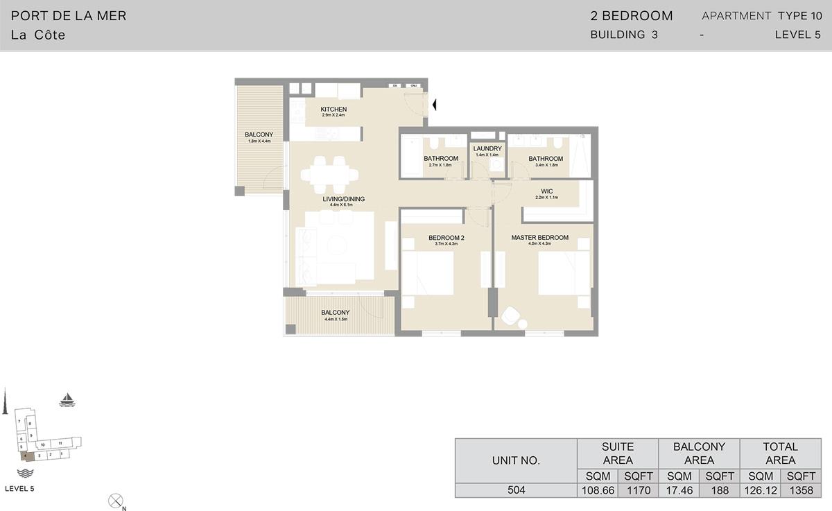 2 Bedroom Building 3 Level 5, Size 1358-sqft