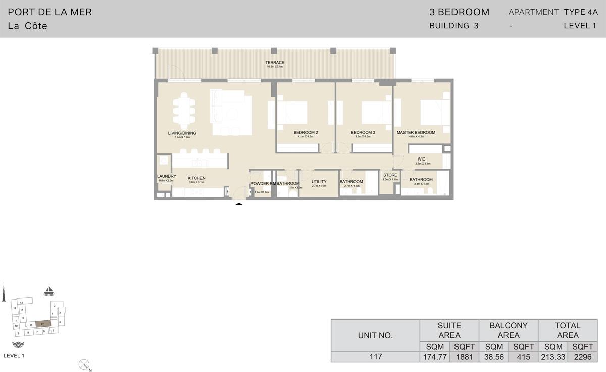 3 Bedroom Building 3 Level 1, Size 2296-sqft