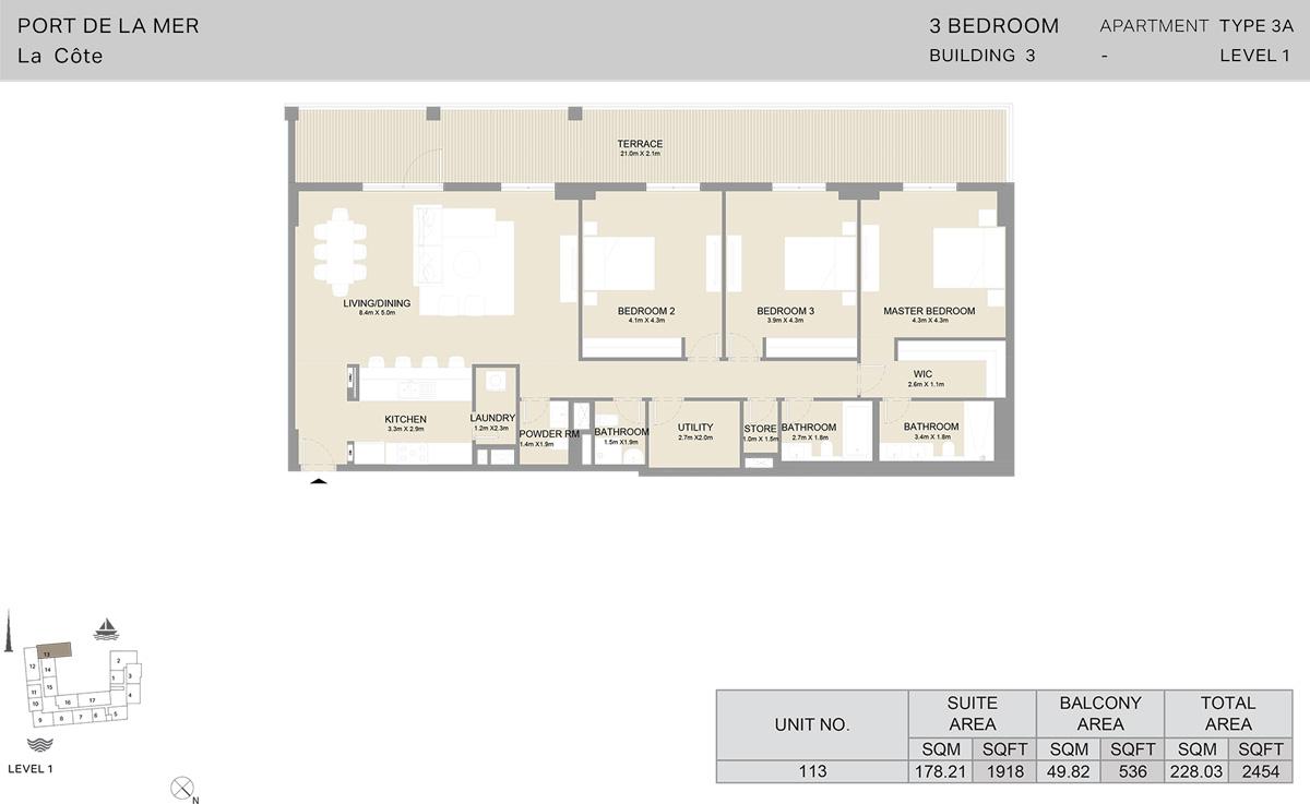 3 Bedroom Building 3 Level 1, Size 2454-sqft