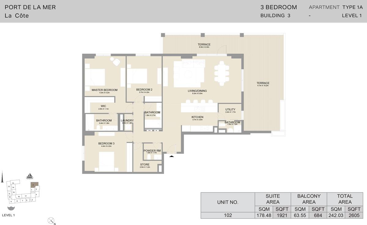 3 Bedroom Building 3 Level 1, Size 2605-sqft