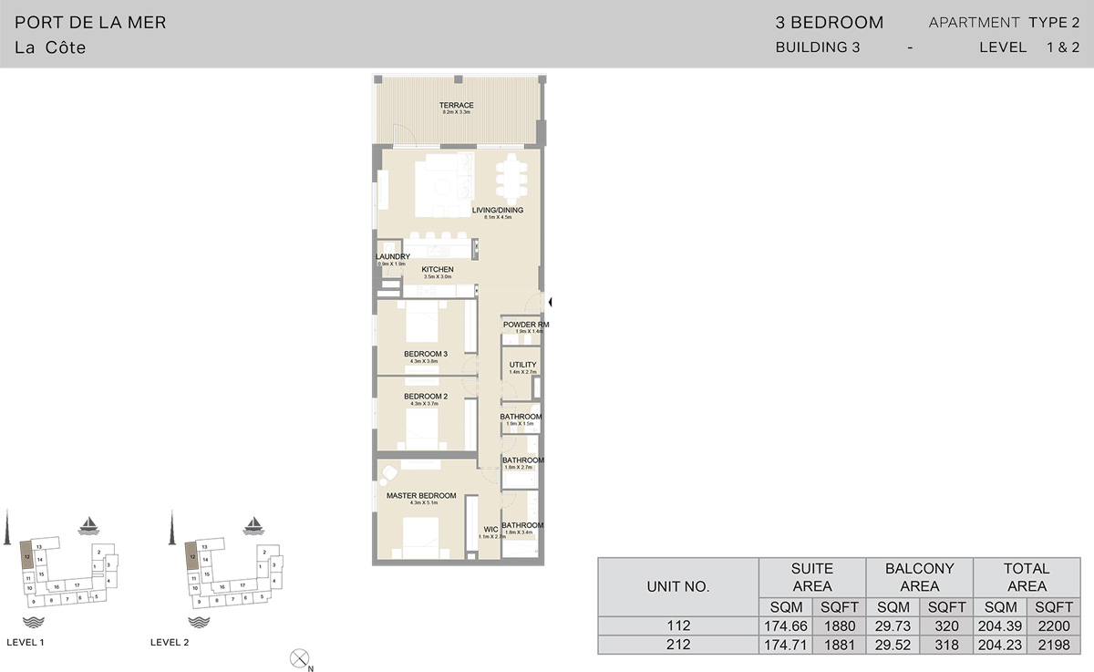3 Bedroom Building 3 Level 1 To 2, Size 2198-sqft
