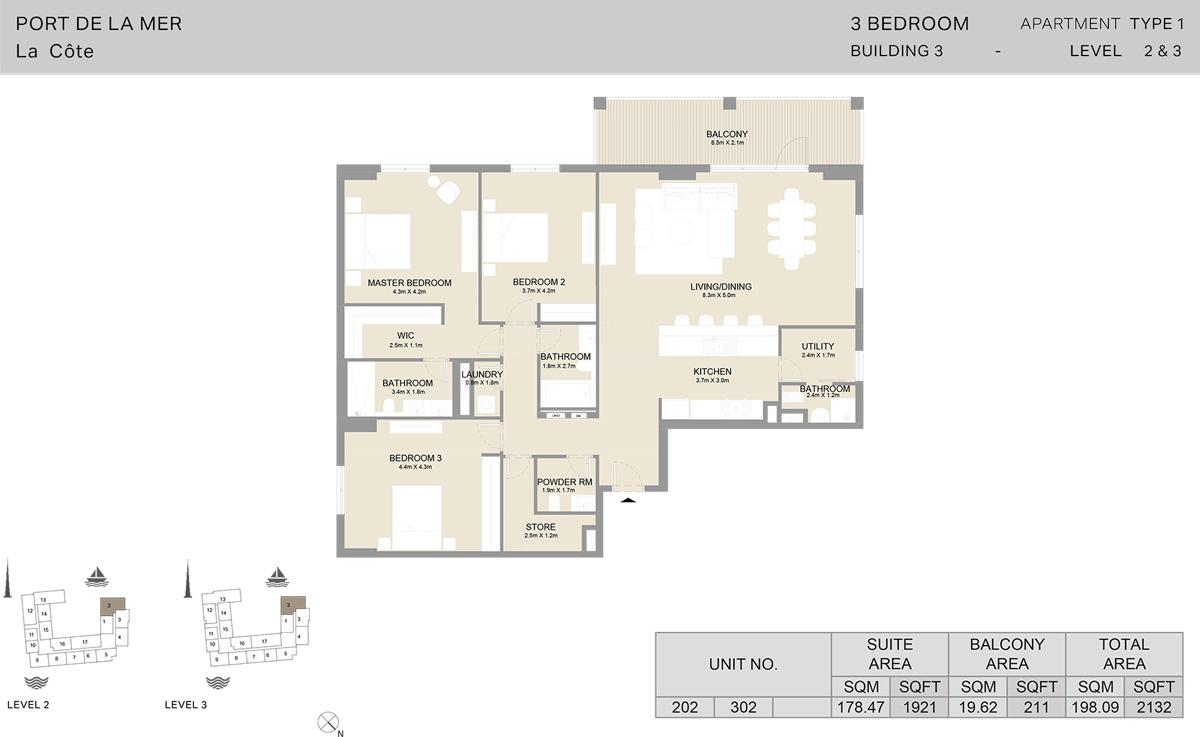 3 Bedroom Building 3 Level 2 To 3, Size 2132 sqft