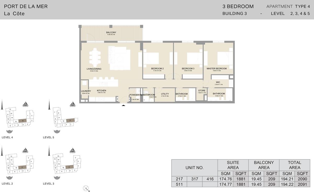 3 Bedroom Building 3 Level 2 To 5, Size 2091-sqft