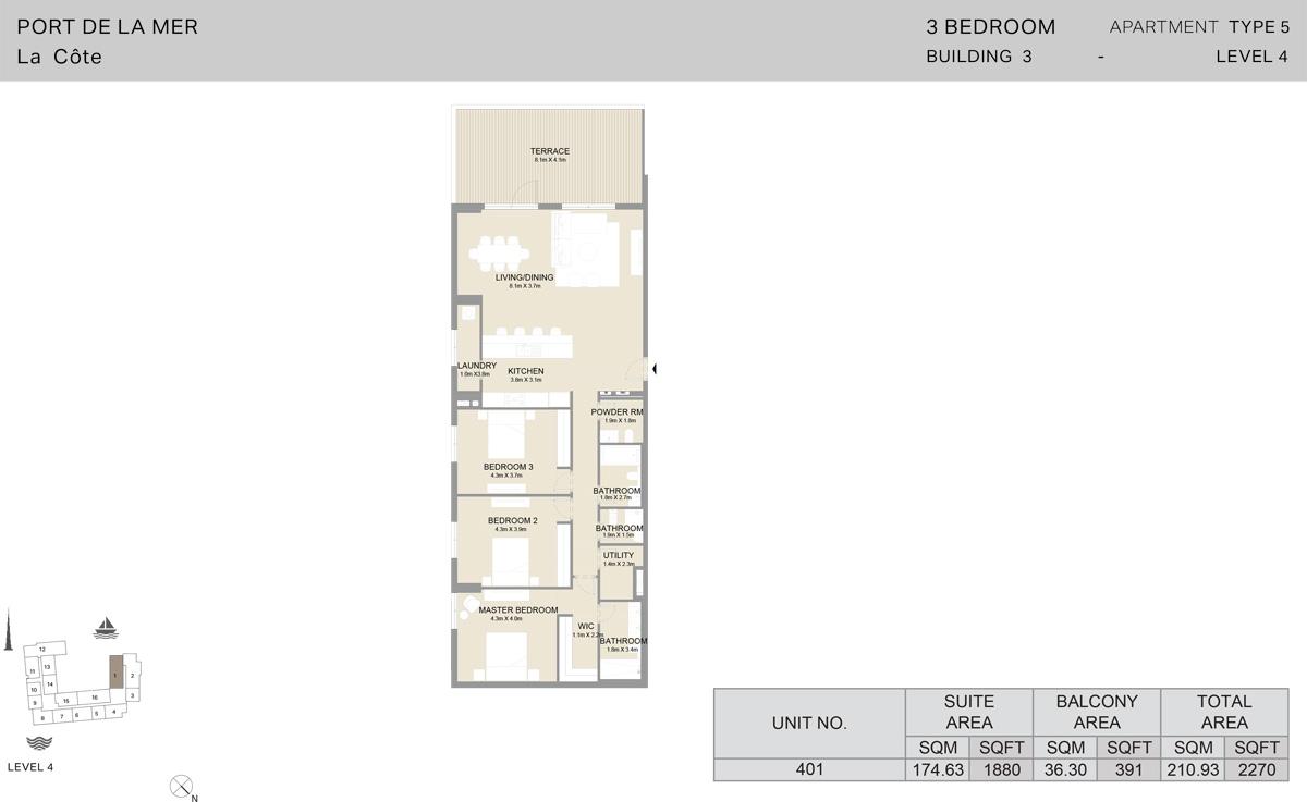 3 Bedroom Building 3 Level 4, Size 2270-sqft
