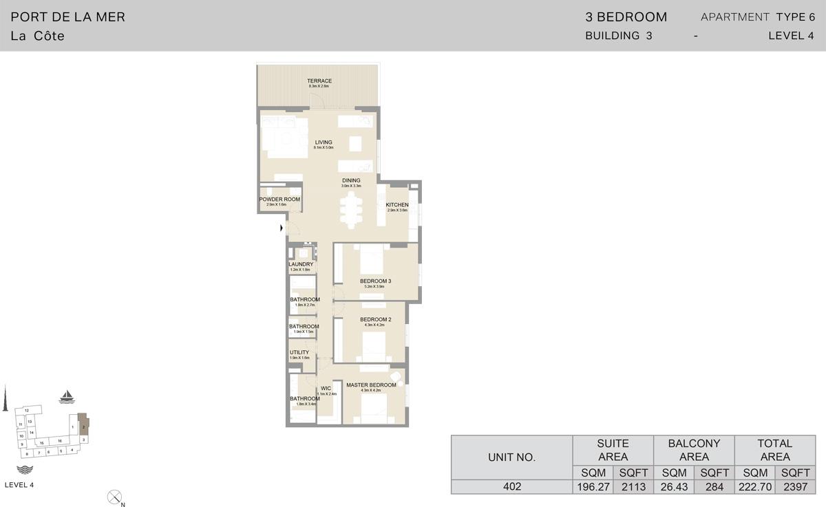 3 Bedroom Building 3 Level 4, Size 2397-sqft