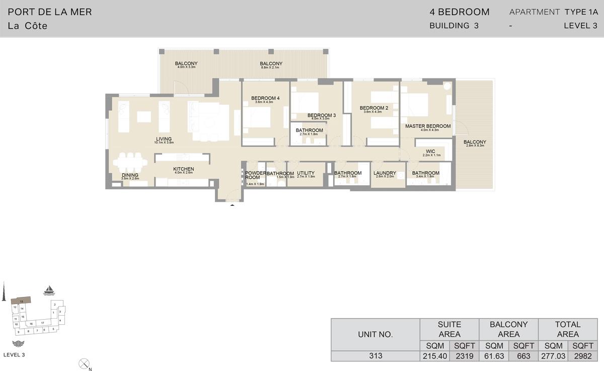 4 Bedroom Building 3 Level 3, Size 2982 sqft