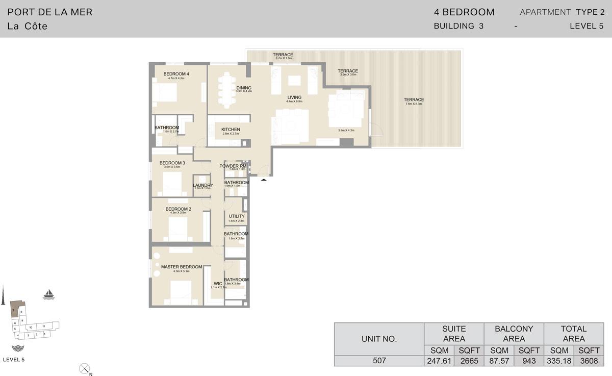 4 Bedroom Building 3 Level 5, Size 3608-sqft