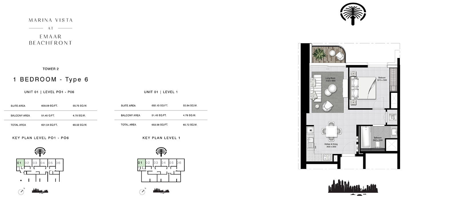 1 Bedroom Tower 2, Type 6, Size 653.58 sq.ft.