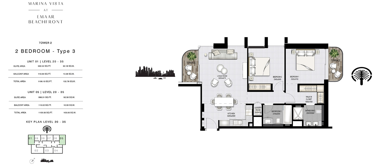 2 Bedroom Tower 2, Type 3, Size 1109.33 sq.ft.
