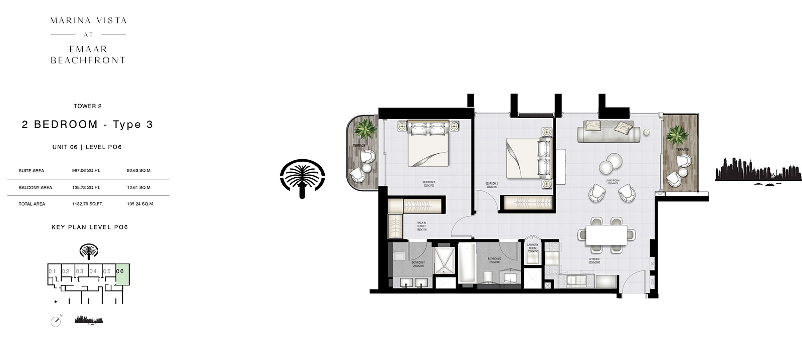 2 Bedroom Tower 2, Type 3, Size 1132.79 sq.ft.