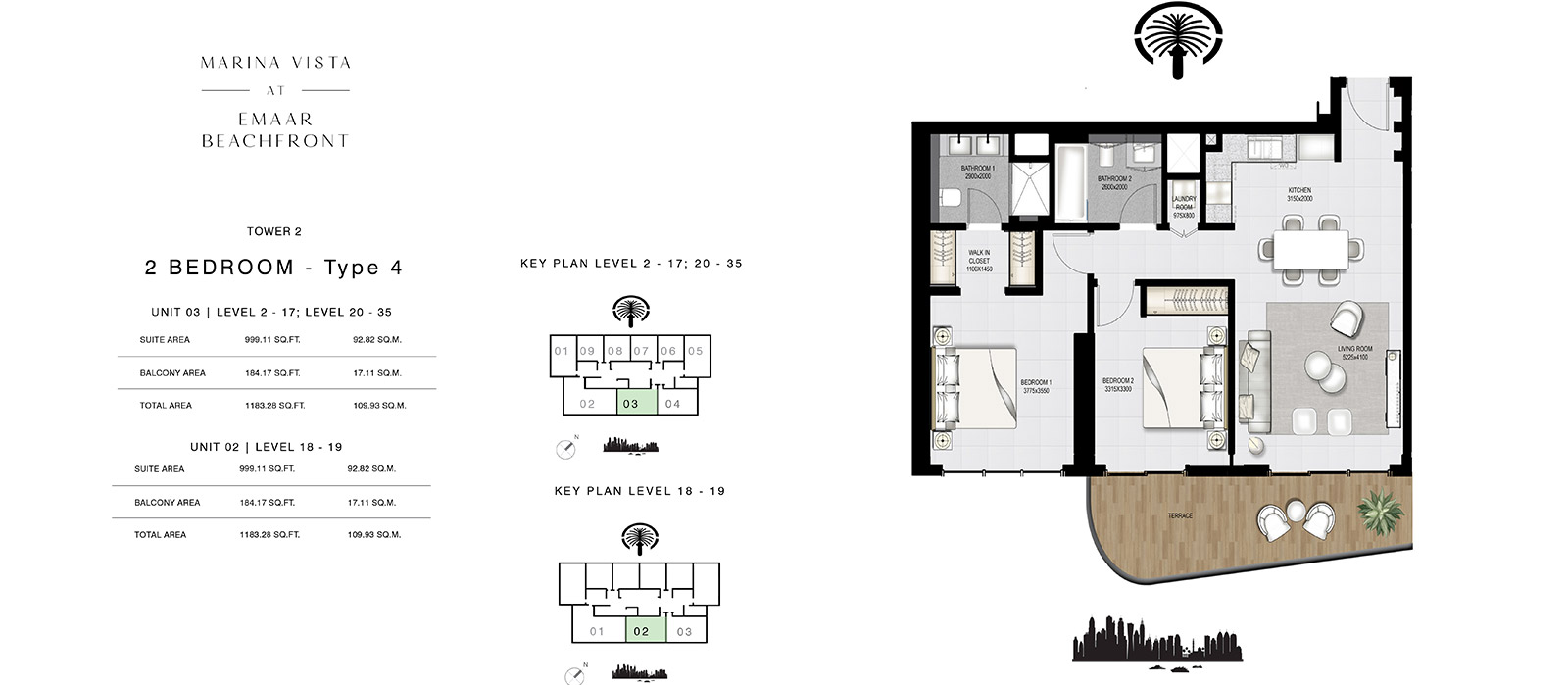 2 Bedroom Tower 2, Type 4, Size 1183.28 sq.ft.