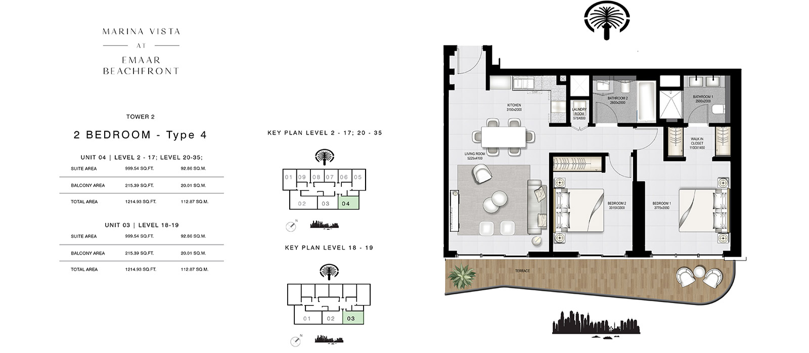 2 Bedroom Tower 2, Type 4, Size 1214.93 sq.ft.