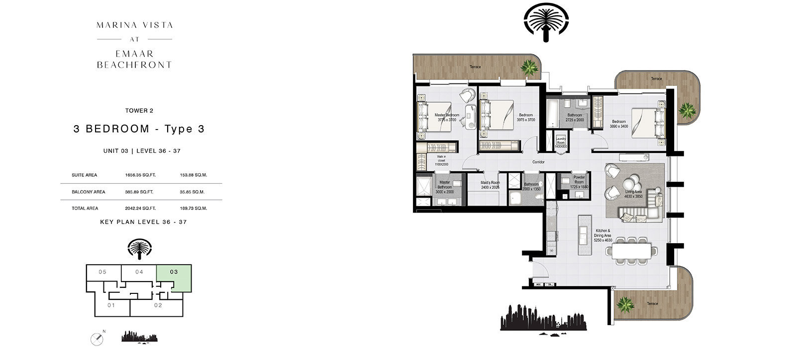 3 Bedroom Tower 2, Type 3, Size 2043.24 sq.ft.
