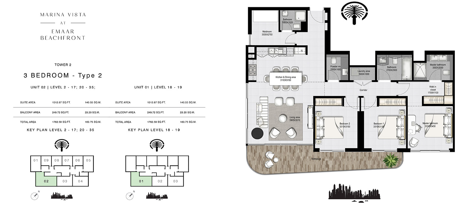 3 Bedroom Tower 2, Type 4, Size 1762.59 sq.ft.