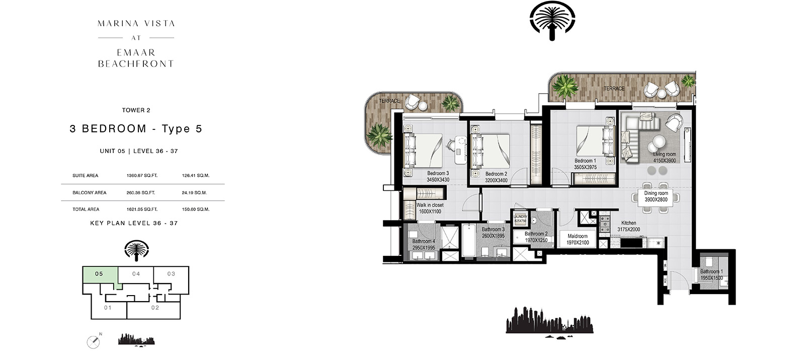 3 Bedroom Tower 2, Type 5, Size 1621.05 sq.ft.