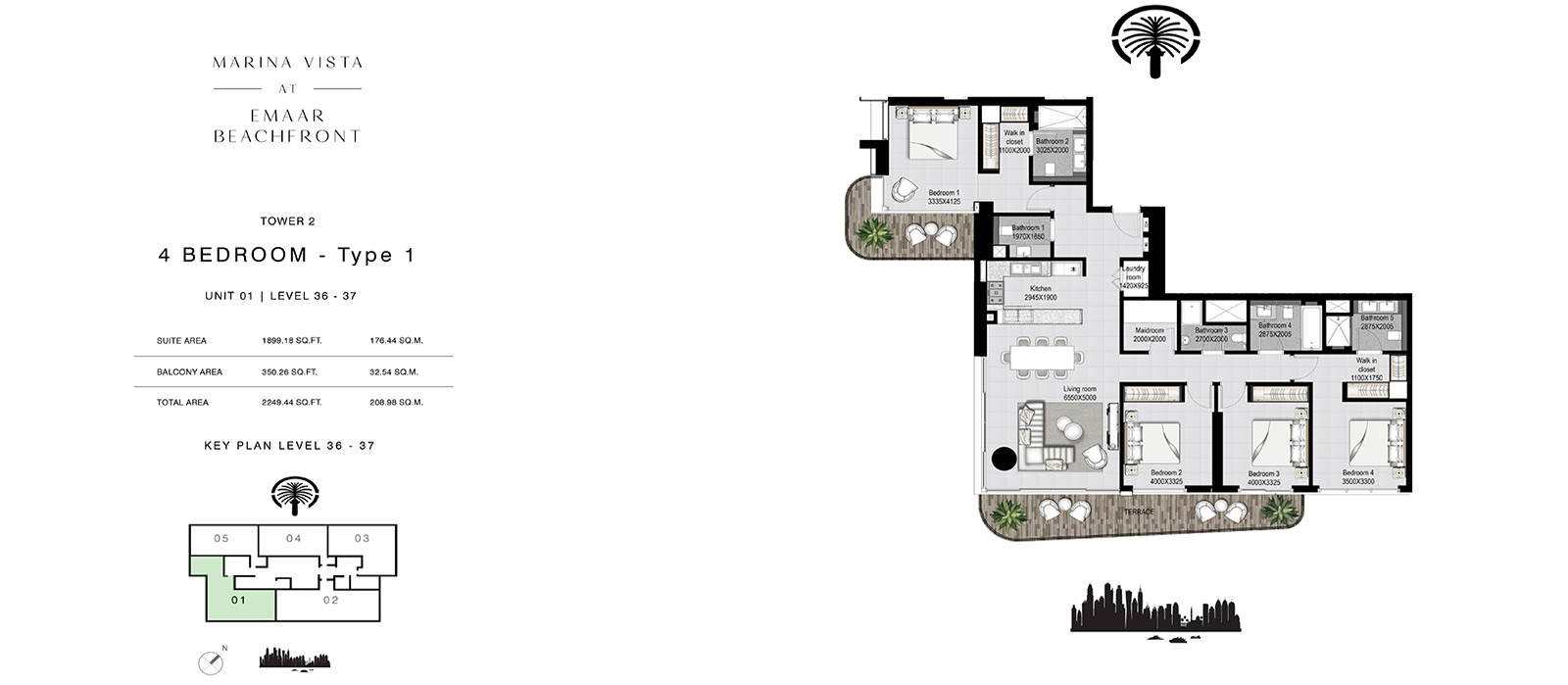 4 Bedroom Tower 2, Type 1, Size 2249.44 sq.ft.