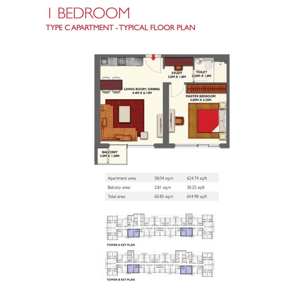 1 Bedroom -Type C, Size 654.98-sqft