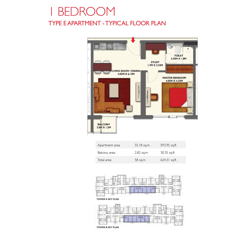 1 Bedroom -Type E, Size 624.31-sqft