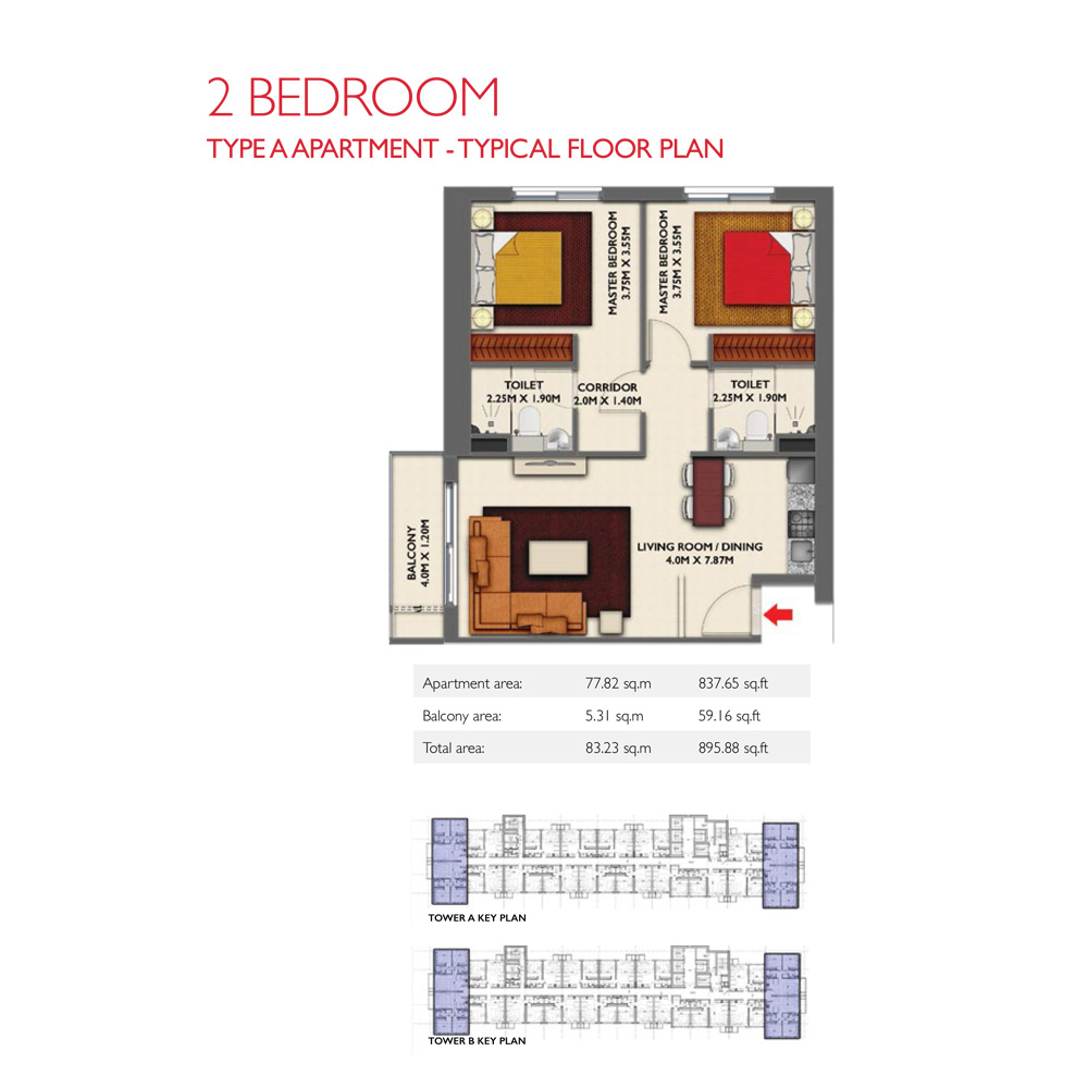 2 Bedroom -Type A, Size 895.88-sqft