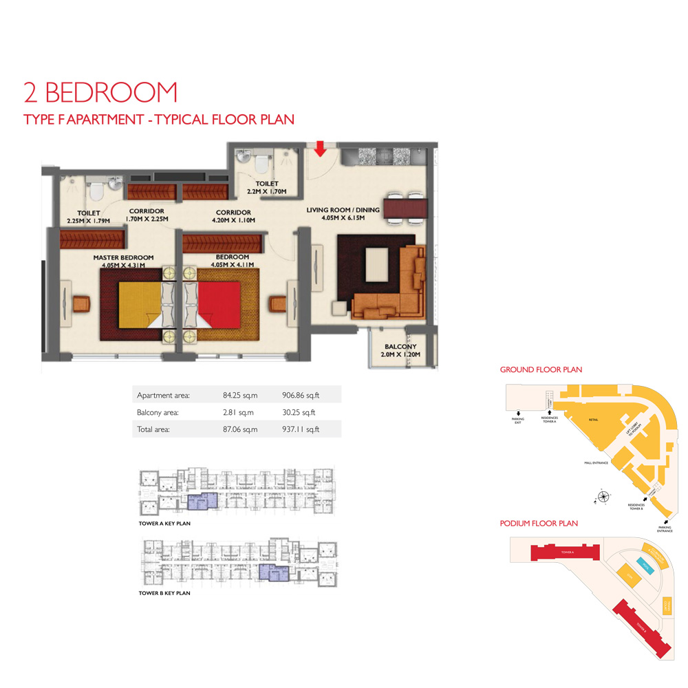 2 Bedroom -Type F, Size 937.11-sqft