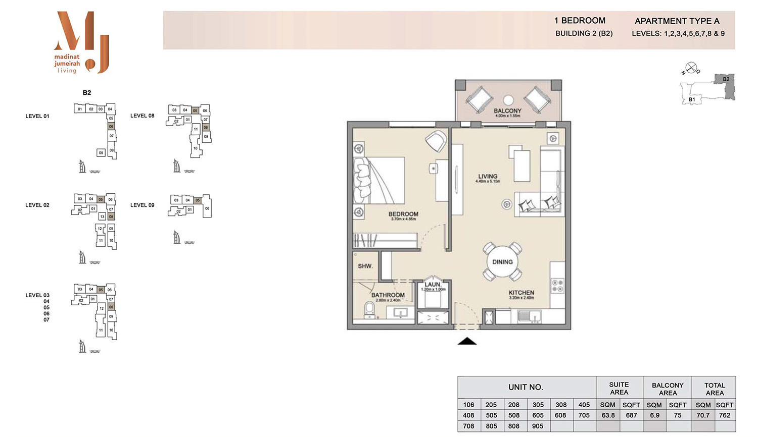 1 Bedroom Building 2, Type A, Levels 1 to 9, Size 762 sq.ft