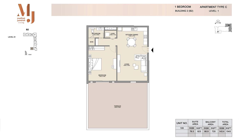 1 Bedroom B2, Type C, Levels 1, Size 1543 sq.ft