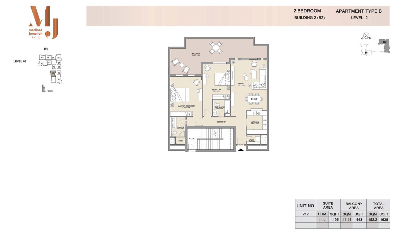 2 Bedroom B 2, Type B, Levels 2, Size 1638 sq.ft