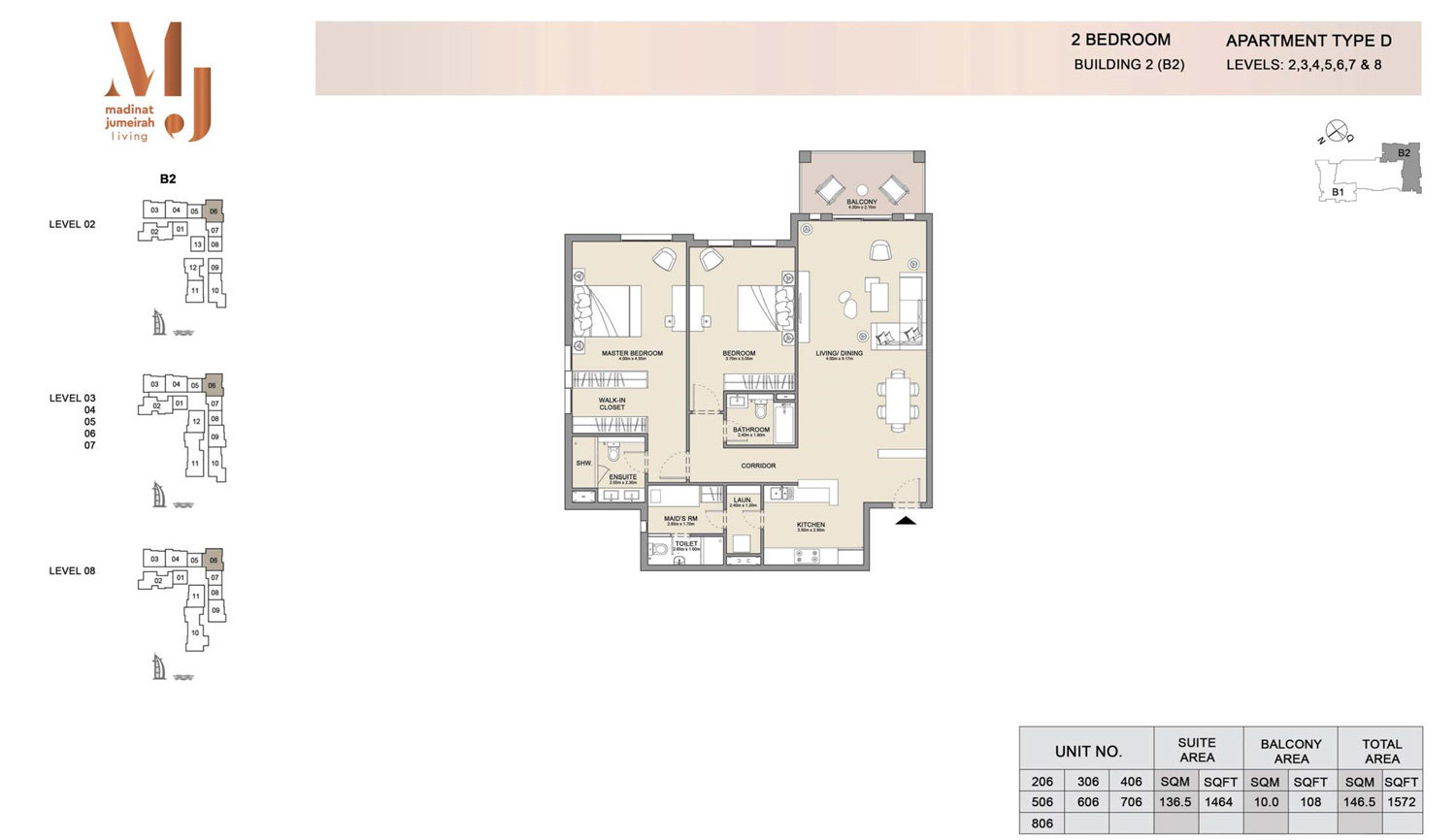 2 Bedroom B 2, Type D, Levels 2 to 8, Size 1572 sq.ft
