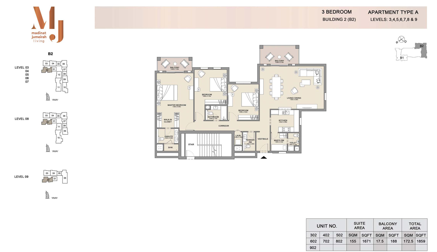 2 Bedroom B 2, Type A, Levels 3 to 9, Size 1859 sq.ft