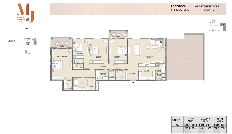 4 Bedroom B 2, Type C, Level 9, Size 3584 sq.ft