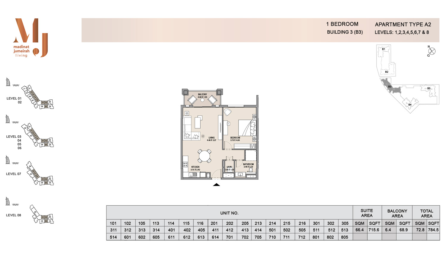 Building3 1 Bedroom, Type A2, Levels 1 to 8, Size 784.5 sq.ft