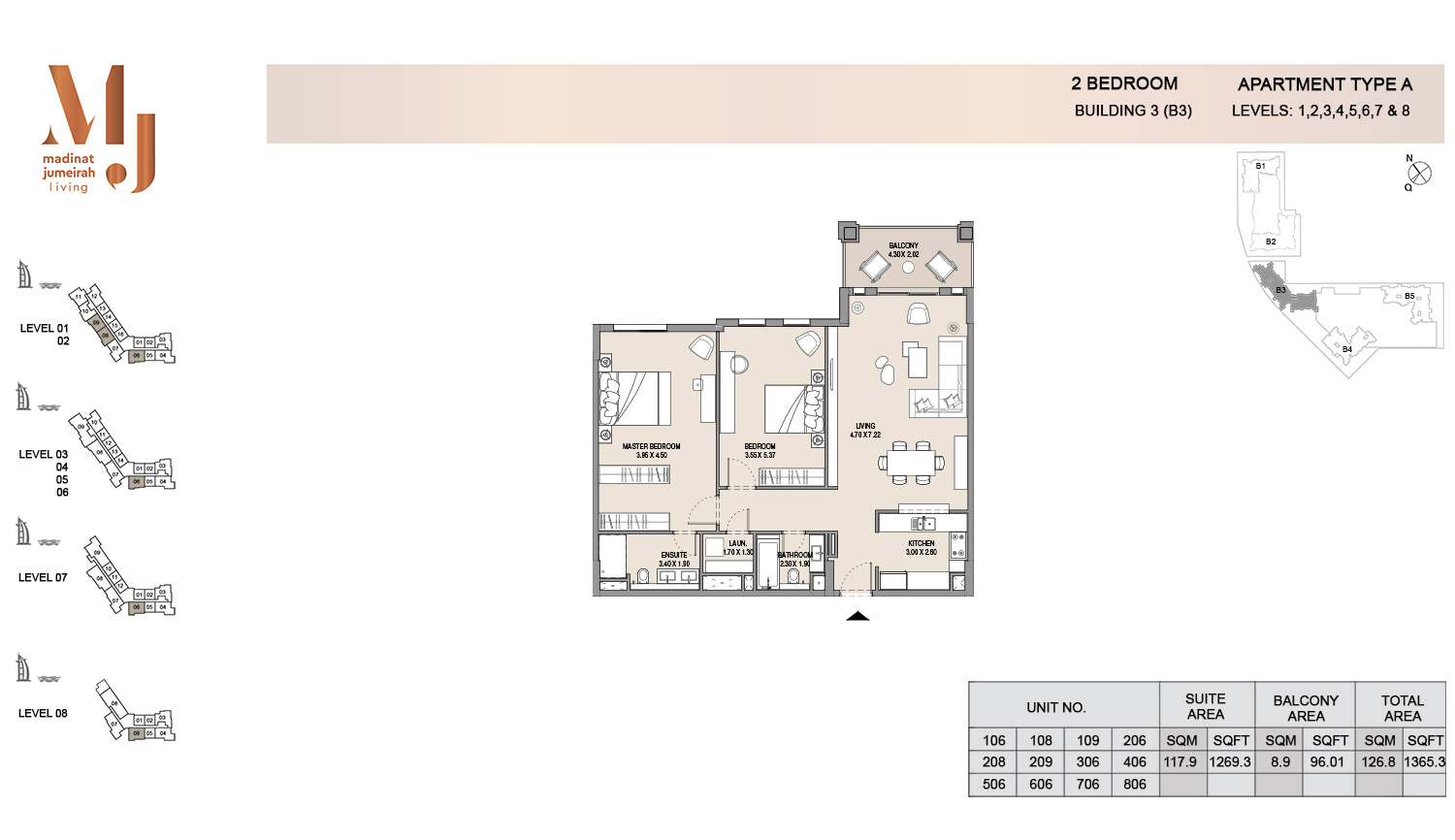 Building3 2 Bedroom, Type A, Levels 1 to 8, Size 1365.3 sq.ft