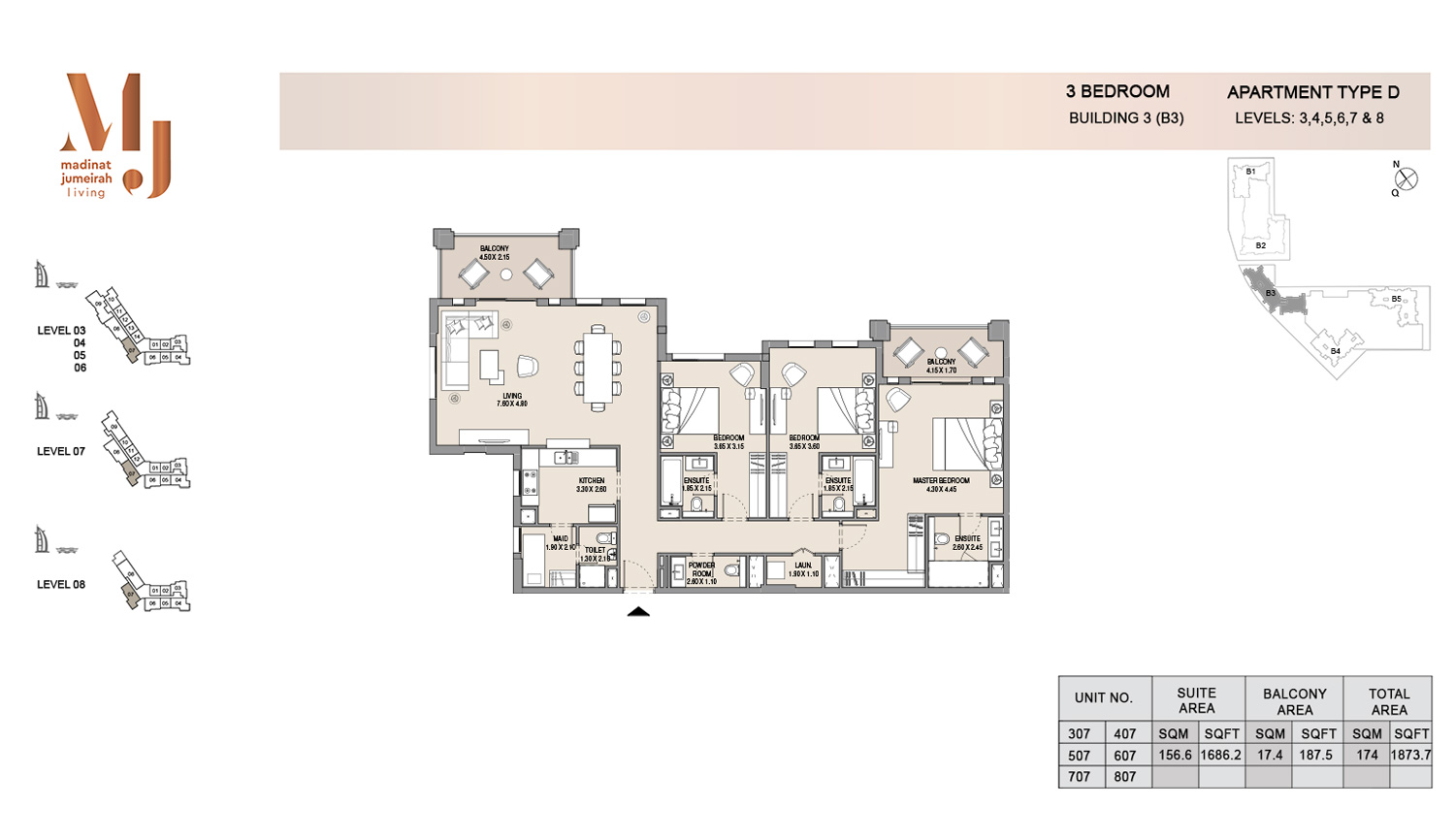Building3 3 Bedroom, Type D, Levels 3 to 8, Size 1873.7 sq.ft