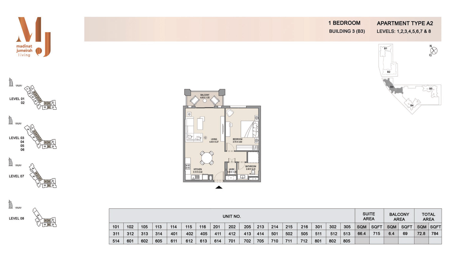 Building3 1 Bedroom, Type A2, Levels 1 to 8, Size 784 sq.ft